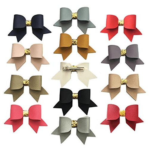 Faux Leather Hair Bows Baby Girls