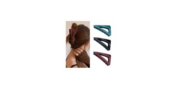 Woeoe French Matte Claw Black Triangle Plastic Hair Clip