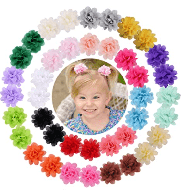 WillingTee Flower Clips Ribbon Lined Clips